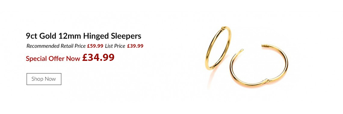 9ct Gold 12mm Hinged Sleeper Earrings