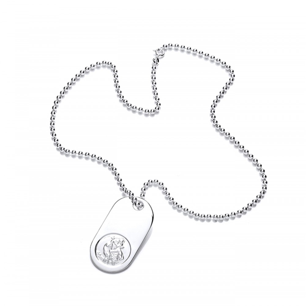 Silver Gents St Christopher Tag Pendant & 20 Bead Chain