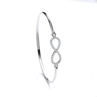 Silver White Cubic Zirconia Infinity Bangle