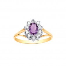 9ct Gold Amethyst and White Cubic Zirconia Cluster Ring