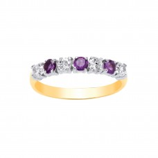 9ct Gold Amethyst and White Cubic Zirconia Eternity Ring
