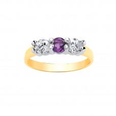 9ct Gold Amethyst and White Cubic Zirconia Ring