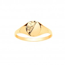 9ct Gold Boys Engraved Oval Signet Ring