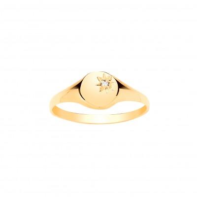 9ct Gold Childs Diamond Set Oval Signet Ring
