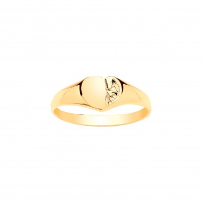 9ct Gold Childs Engraved Heart Signet Ring