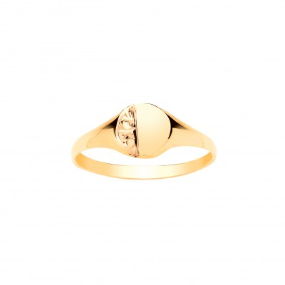 9ct Gold Childs Engraved Oval Signet Ring