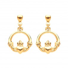 9ct Gold Claddagh Drop Earrings