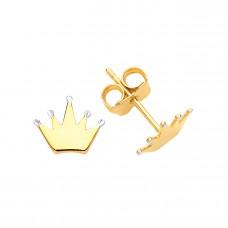 9ct Gold Crown Stud Earrings