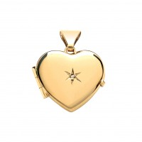 9ct Gold Diamond Set Heart Locket 1.90gms