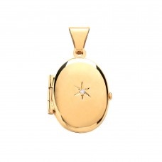 9ct Gold Diamond Set Oval Locket