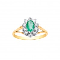 9ct Gold Emerald and White Cubic Zirconia Cluster Ring