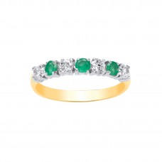 9ct Gold Emerald and White Cubic Zirconia Eternity Ring