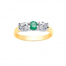 9ct Gold Emerald and White Cubic Zirconia Ring