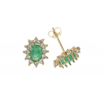 9ct Gold Emerald and White Cubic Zirconia Stud Earrings