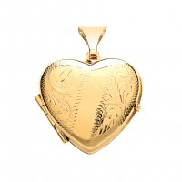 9ct Gold Engraved Heart 4 Picture Family Locket