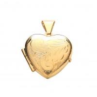 9ct Gold Engraved Heart Locket 2.22gms
