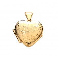 9ct Gold Engraved Heart Locket 2.22gms