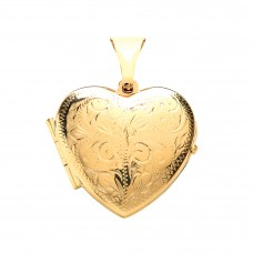 9ct Gold Engraved Heart Locket 2.88gms