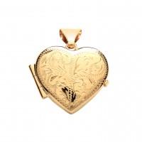 9ct Gold Engraved Heart Locket 1.82gms