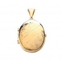 9ct Gold Engraved Oval 4 Picture Family Locket