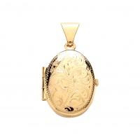9ct Gold Engraved Oval Locket 1.92gms