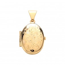 9ct Gold Engraved Oval Locket 1.92gms
