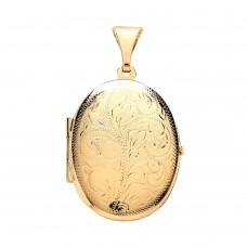 9ct Gold Engraved Oval Locket 3.00gms