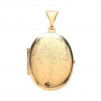 9ct Gold Engraved Oval Locket 4.10gms