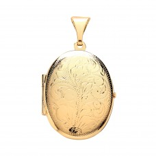 9ct Gold Engraved Oval Locket 4.10gms