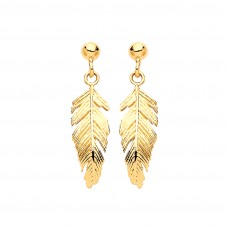 9ct Gold Feather Drop Earrings
