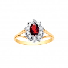 9ct Gold Garnet and White Cubic Zirconia Cluster Ring