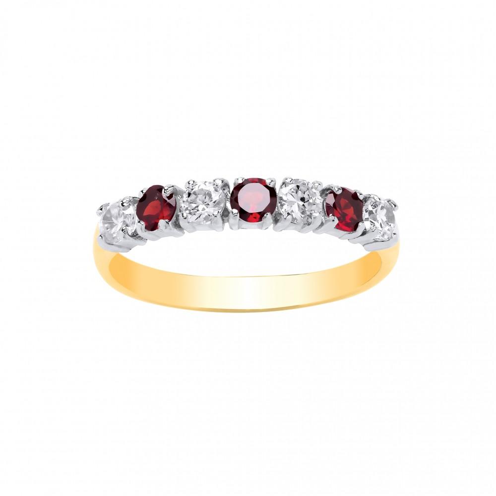Zirconia 9ct Eternity Garnet And Gold Cubic White Ring c5RL34Ajq
