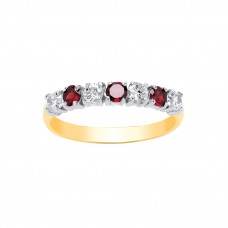 9ct Gold Garnet and White Cubic Zirconia Eternity Ring