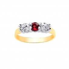9ct Gold Garnet and White Cubic Zirconia Ring