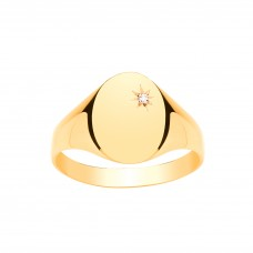 9ct Gold Gents Diamond Set Oval Signet Ring