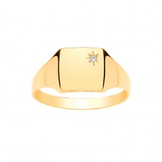 9ct Gold Gents Diamond Set Square Signet Ring