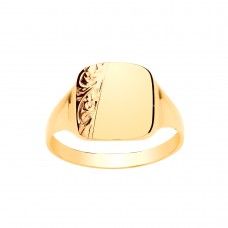 9ct Gold Gents Engraved Cushion Signet Ring
