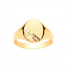 9ct Gold Gents Engraved Oval Signet Ring