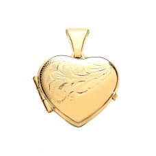 9ct Gold Half Engraved Heart Locket 1.81gms