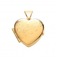 9ct Gold Half Engraved Heart Locket 2.27gms