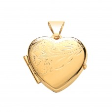 9ct Gold Half Engraved Heart Locket 2.27gms
