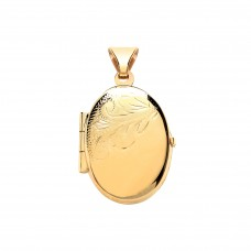 9ct Gold Half Engraved Oval Locket 2.02gms