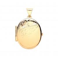 9ct Gold Half Engraved Oval Locket 3.14gms