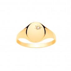 9ct Gold Ladies Diamond Set Oval Signet Ring
