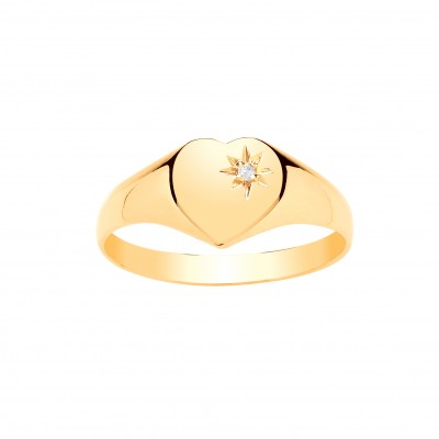 9ct Gold Ladies Diamond Set Heart Signet Ring