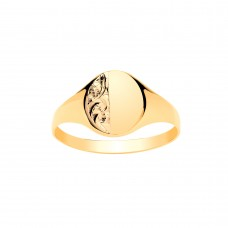 9ct Gold Ladies Engraved Oval Signet Ring