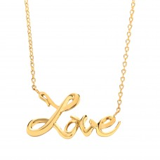 "9ct Gold ""LOVE"" Pendant and 17"" Trace Chain"
