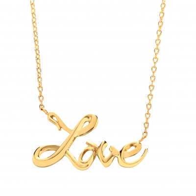 """9ct Gold """"LOVE"""" Pendant and 17"""" Trace Chain"""