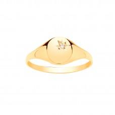 9ct Gold Maids Diamond Set Oval Signet Ring