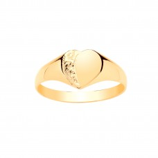 9ct Gold Maids Engraved Heart Signet Ring